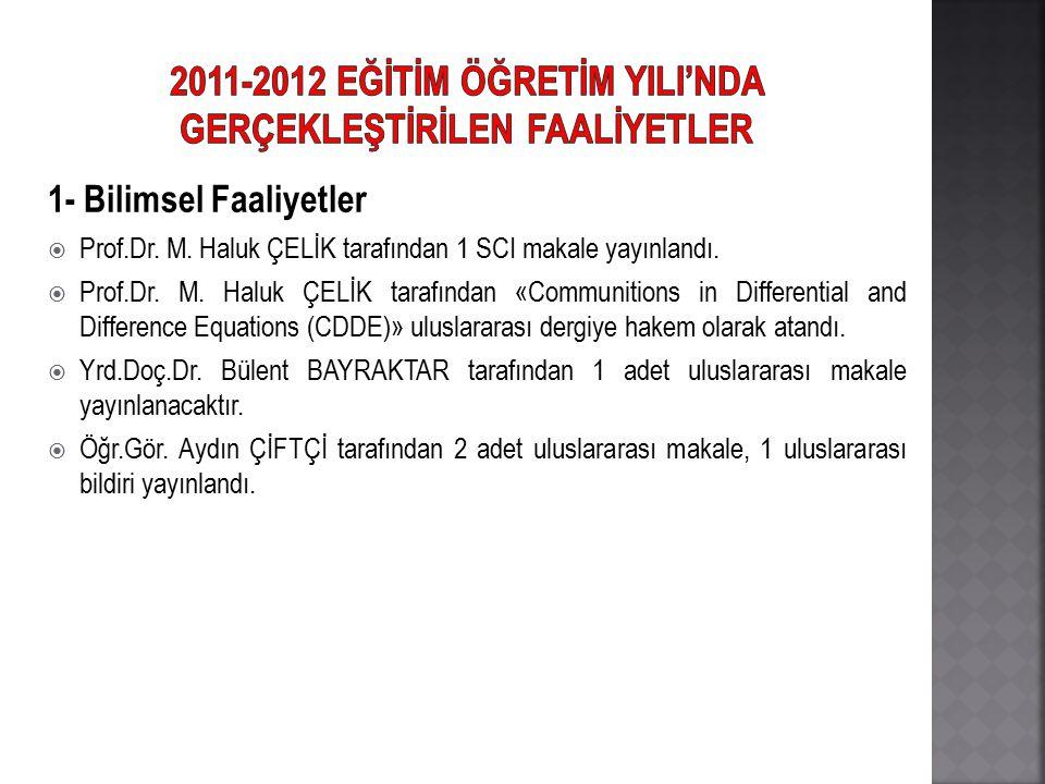 1- Bilimsel Faaliyetler  Prof.Dr. M. Haluk ÇELİK tarafından 1 SCI makale yayınlandı.  Prof.Dr. M. Haluk ÇELİK tarafından «Communitions in Differenti