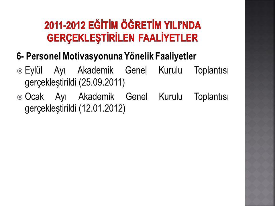 6- Personel Motivasyonuna Yönelik Faaliyetler  Eylül Ayı Akademik Genel Kurulu Toplantısı gerçekleştirildi (25.09.2011)  Ocak Ayı Akademik Genel Kur