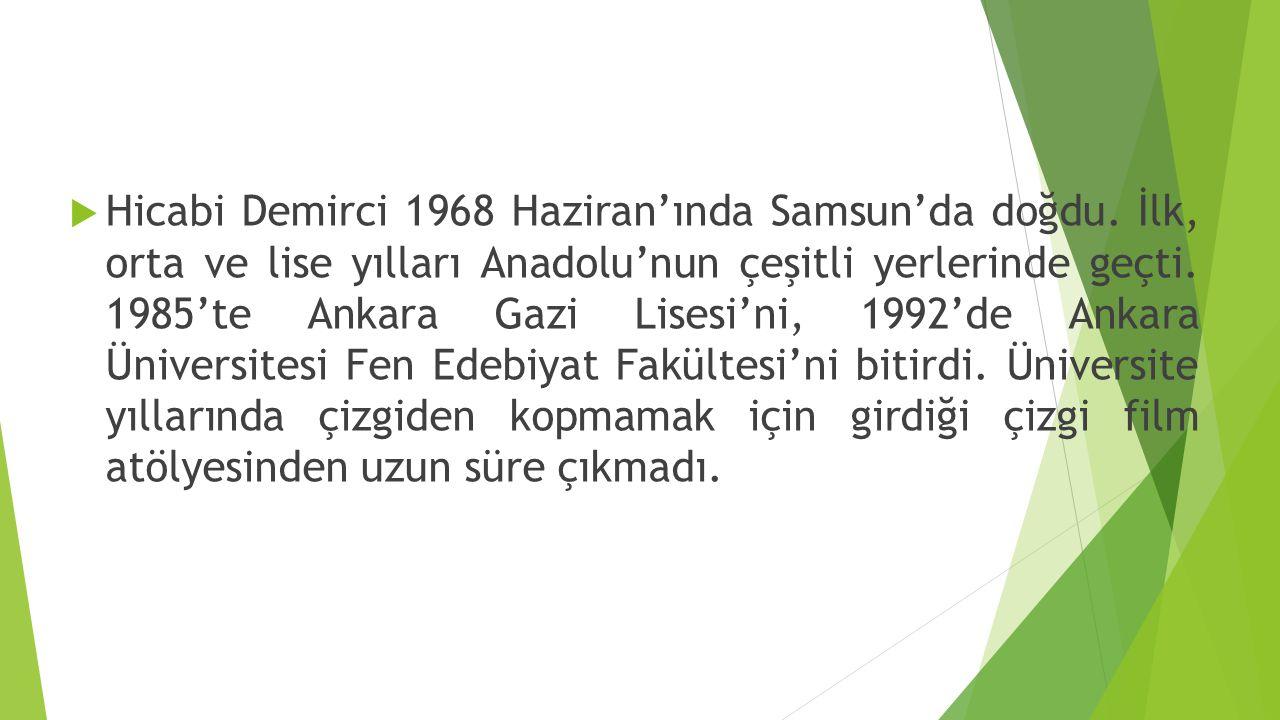  Hicabi Demirci 1968 Haziran'ında Samsun'da doğdu. İlk, orta ve lise yılları Anadolu'nun çeşitli yerlerinde geçti. 1985'te Ankara Gazi Lisesi'ni, 199