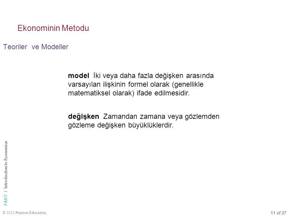 11 of 37 PART I Introduction to Economics © 2012 Pearson Education Teoriler ve Modeller Ekonominin Metodu model İki veya daha fazla değişken arasında varsayılan ilişkinin formel olarak (genellikle matematiksel olarak) ifade edilmesidir.