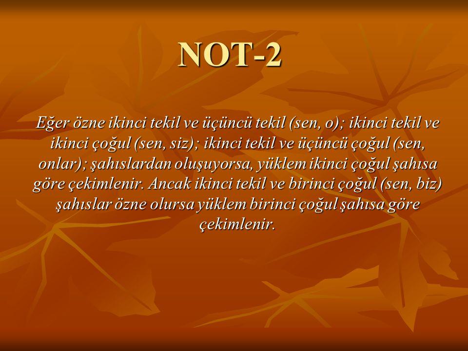 NOT-2 Eğer özne ikinci tekil ve üçüncü tekil (sen, o); ikinci tekil ve ikinci çoğul (sen, siz); ikinci tekil ve üçüncü çoğul (sen, onlar); şahıslardan