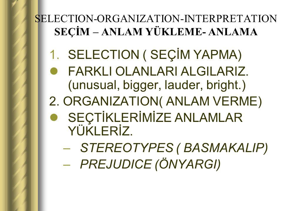 SELECTION-ORGANIZATION-INTERPRETATION SEÇİM – ANLAM YÜKLEME- ANLAMA 1.SELECTION ( SEÇİM YAPMA) FARKLI OLANLARI ALGILARIZ. (unusual, bigger, lauder, br