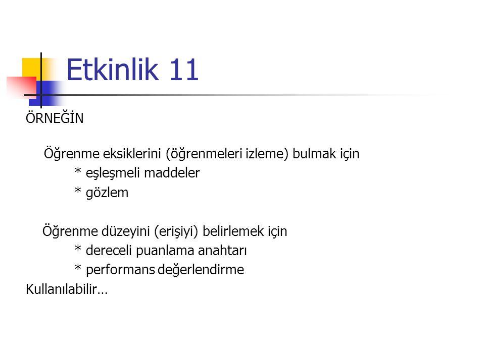 Etkinlik 11 ÖRNEĞİN Öğrenme eksiklerini (öğrenmeleri izleme) bulmak için * eşleşmeli maddeler * gözlem Öğrenme düzeyini (erişiyi) belirlemek için * de