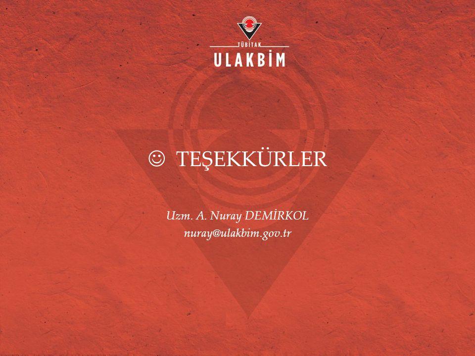TEŞEKKÜRLER Uzm. A. Nuray DEMİRKOL nuray@ulakbim.gov.tr