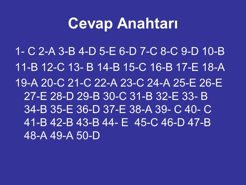 Cevap Anahtarı 1- C 2-A 3-B 4-D 5-E 6-D 7-C 8-C 9-D 10-B 11-B 12-C 13- B 14-B 15-C 16-B 17-E 18-A 19-A 20-C 21-C 22-A 23-C 24-A 25-E 26-E 27-E 28-D 29