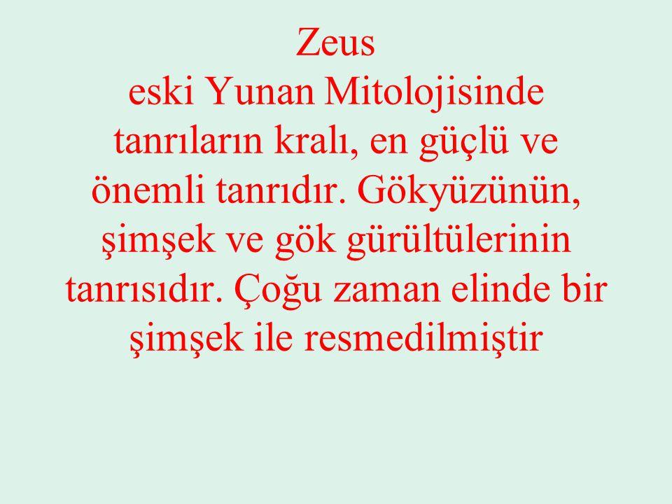 Zeus eski Yunan Mitolojisinde tanrıların kralı, en güçlü ve önemli tanrıdır. Gökyüzünün, şimşek ve gök gürültülerinin tanrısıdır. Çoğu zaman elinde bi