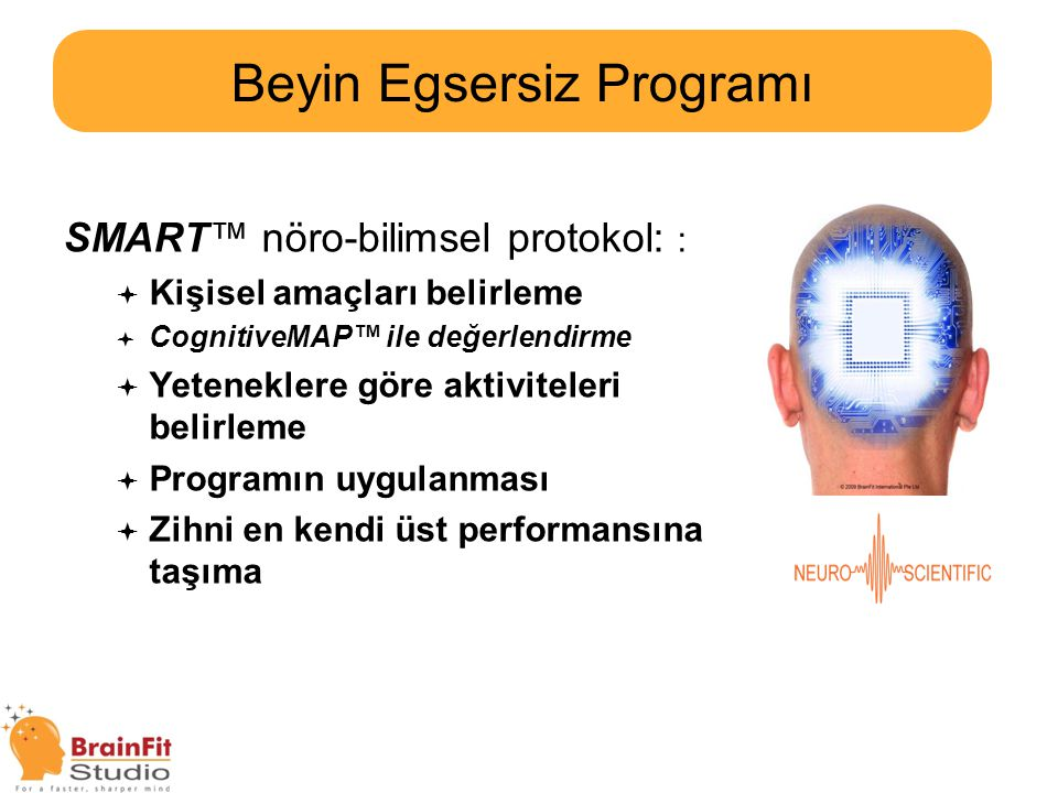  Beyin Egsesizi Nedir?  BrainFit Studio Beyin Egsersiz Programı  Egsersiz Programı Sonuçları  Okul Sonrası Destek Programları Gündem