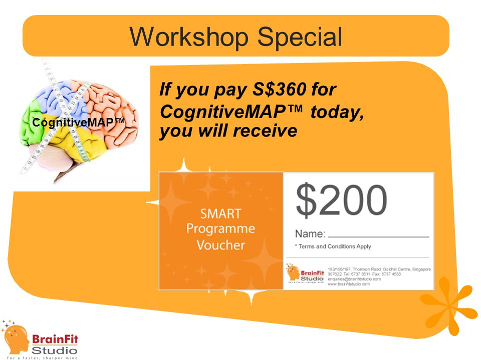 Seminer Özel CognitiveMAP™ Pay S$360 instead of S$390, FULLY REBATED with programme sign-up (within 1 month from getting report).