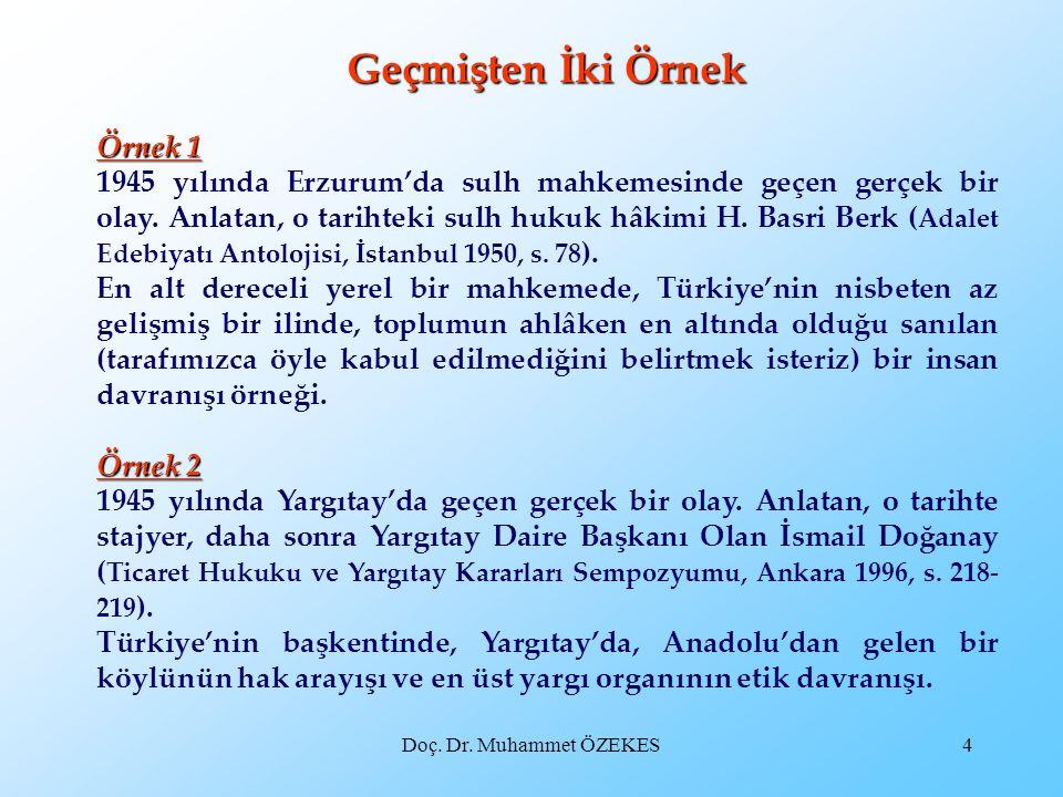 Doç. Dr. Muhammet ÖZEKES4 Geçmişten İki Örnek Örnek 1 1945 yılında Erzurum'da sulh mahkemesinde geçen gerçek bir olay. Anlatan, o tarihteki sulh hukuk