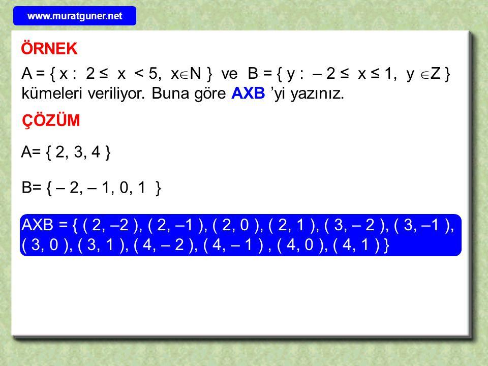 ÖRNEK Kartezyen çarpım kümesinin elemanı olan sıralı ikililerin birinci bileşenleri A kümesinden, ikinci bileşenleri B kümesinden alınacağından; ÇÖZÜM A∩B = { 0, 1 }Buna göre; AXB = { ( 0, 0 ), ( 0, 1 ), ( 1, 0), ( 1, 1), ( 2, 0), ( 2, 1) } ise A∩B kümesini bulunuz.