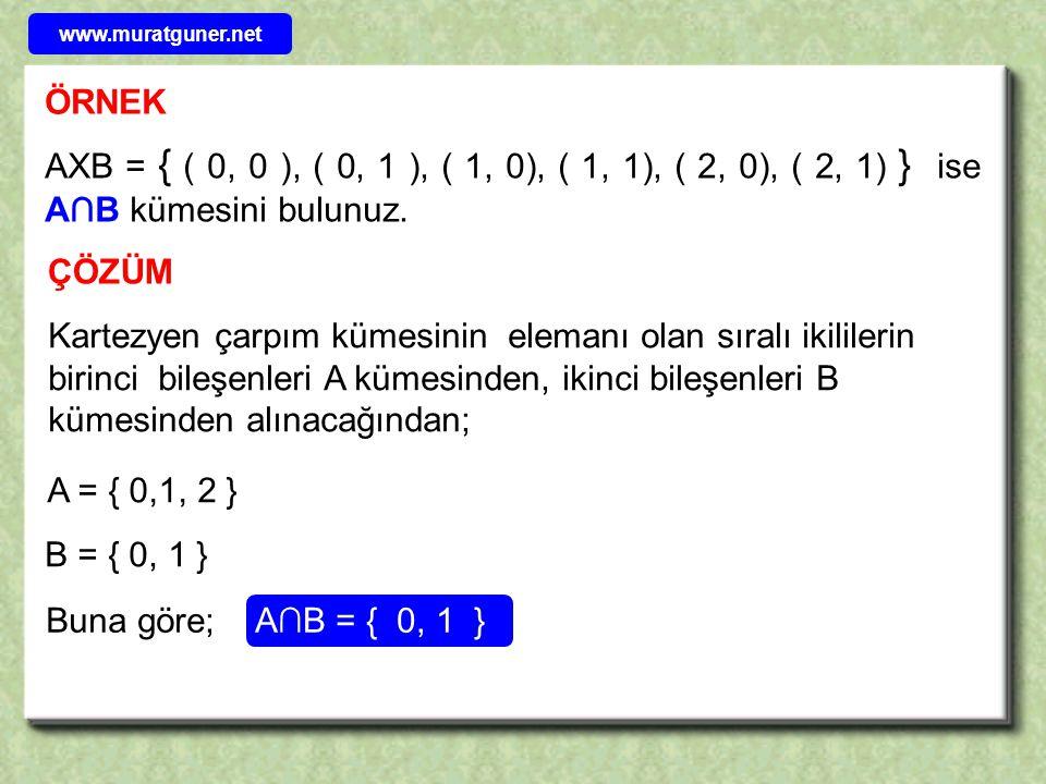 ÖRNEK AXB = { ( a, 1 ), ( a, 2 ), ( a, 3), ( b, 1), ( b, 2), ( b, 3) } BXC = { ( 1, x ), ( 1, y ), ( 2, x), ( 2, y), ( 3, x), ( 3, y) } olduğuna göre AXC kümesini yazınız.