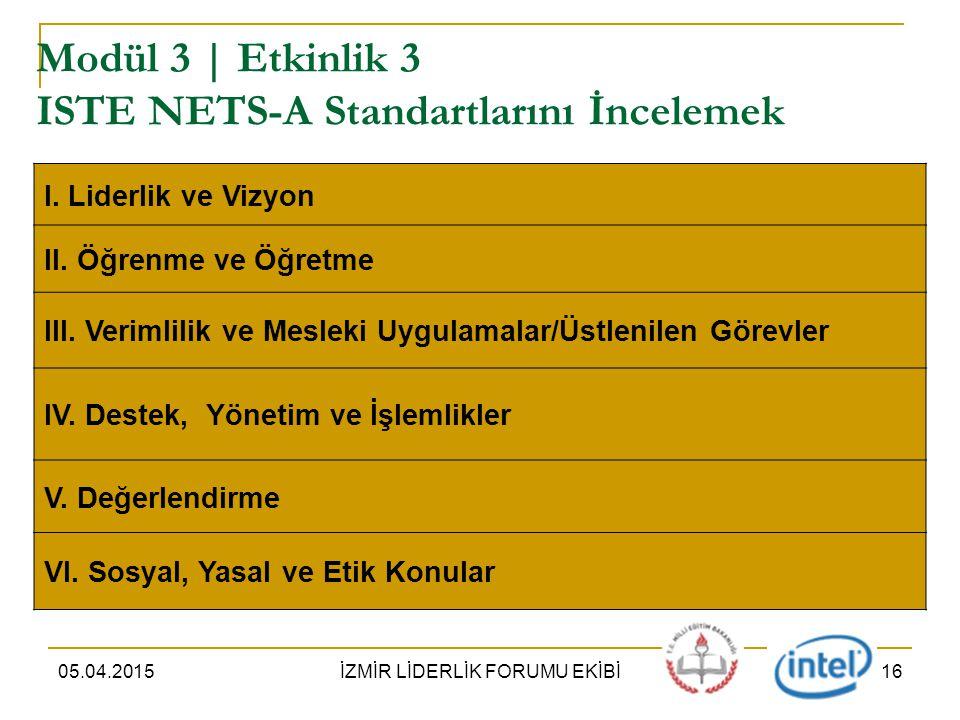 05.04.2015İZMİR LİDERLİK FORUMU EKİBİ16 Modül 3 | Etkinlik 3 ISTE NETS-A Standartlarını İncelemek I.