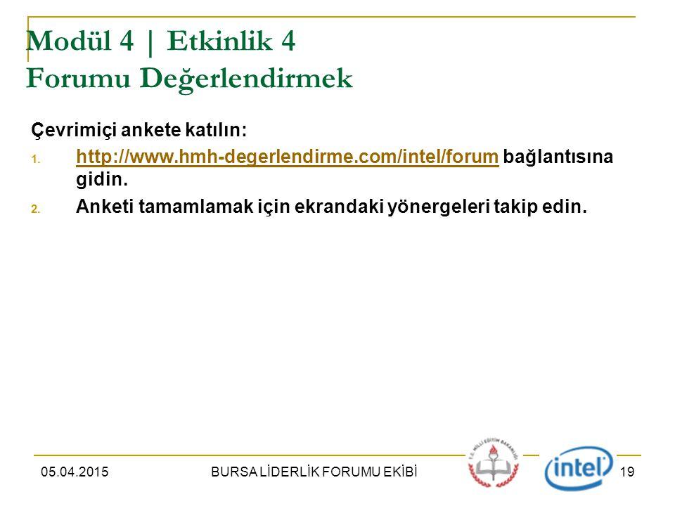 05.04.2015BURSA LİDERLİK FORUMU EKİBİ19 Modül 4 | Etkinlik 4 Forumu Değerlendirmek Çevrimiçi ankete katılın: 1.