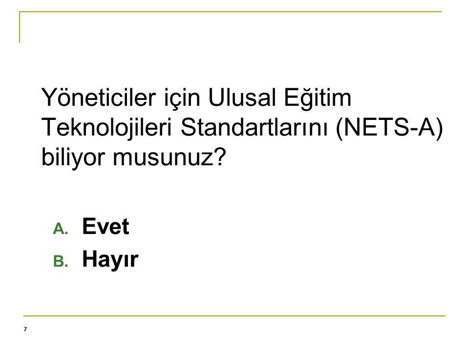 7 Yöneticiler için Ulusal Eğitim Teknolojileri Standartlarını (NETS-A) biliyor musunuz.