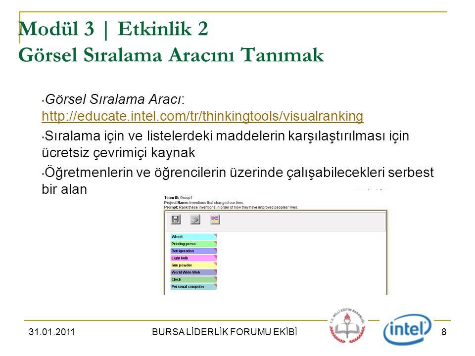 31.01.2011BURSA LİDERLİK FORUMU EKİBİ8 Modül 3 | Etkinlik 2 Görsel Sıralama Aracını Tanımak Görsel Sıralama Aracı: http://educate.intel.com/tr/thinkingtools/visualranking http://educate.intel.com/tr/thinkingtools/visualranking Sıralama için ve listelerdeki maddelerin karşılaştırılması için ücretsiz çevrimiçi kaynak Öğretmenlerin ve öğrencilerin üzerinde çalışabilecekleri serbest bir alan