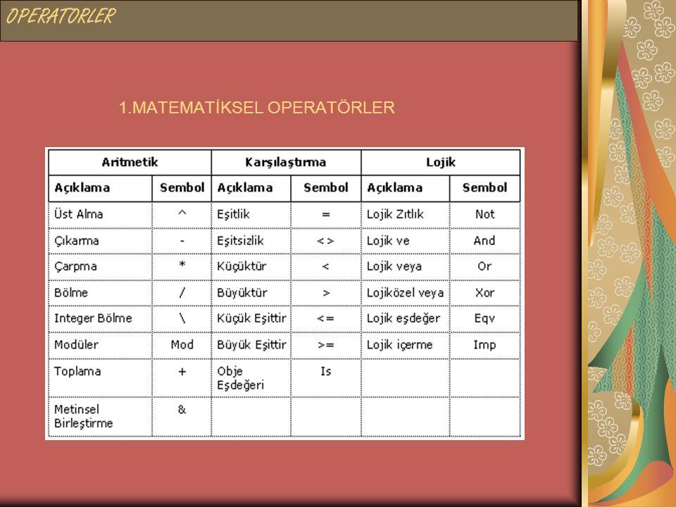 1.MATEMATİKSEL OPERATÖRLER OPERATORLER