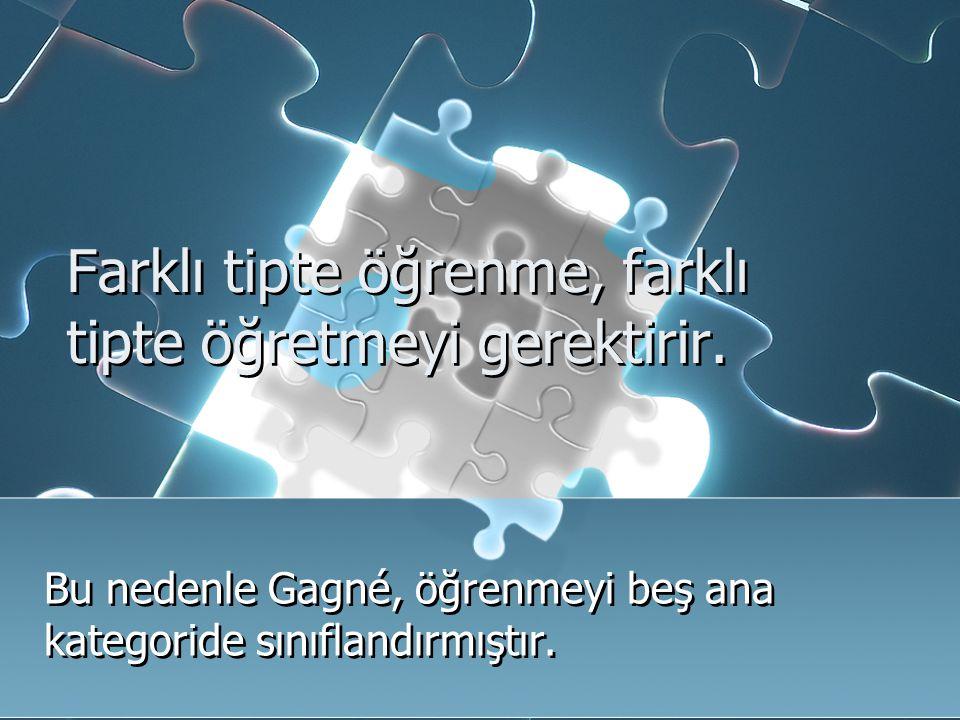 Farklı tipte öğrenme, farklı tipte öğretmeyi gerektirir. Bu nedenle Gagné, öğrenmeyi beş ana kategoride sınıflandırmıştır.