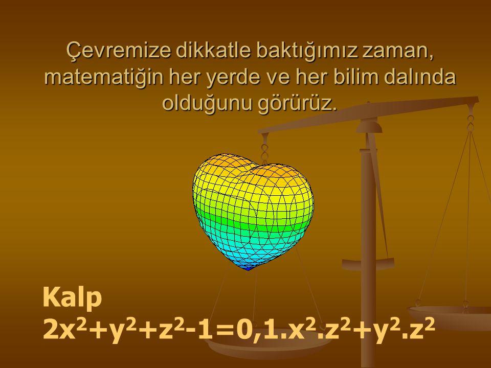 Çevremize dikkatle baktığımız zaman, matematiğin her yerde ve her bilim dalında olduğunu görürüz. Kalp 2x 2 +y 2 +z 2 -1=0,1.x 2.z 2 +y 2.z 2