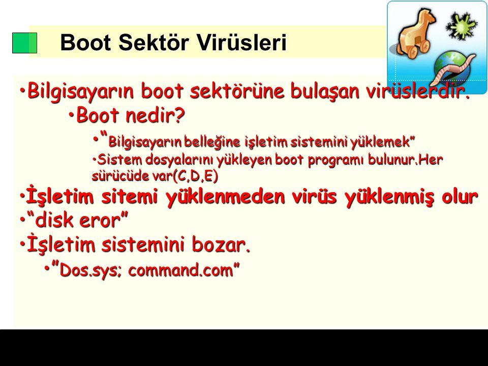 Boot Sektör Virüsleri Boot Sektör Virüsleri Bilgisayarın boot sektörüne bulaşan virüslerdir.Bilgisayarın boot sektörüne bulaşan virüslerdir.