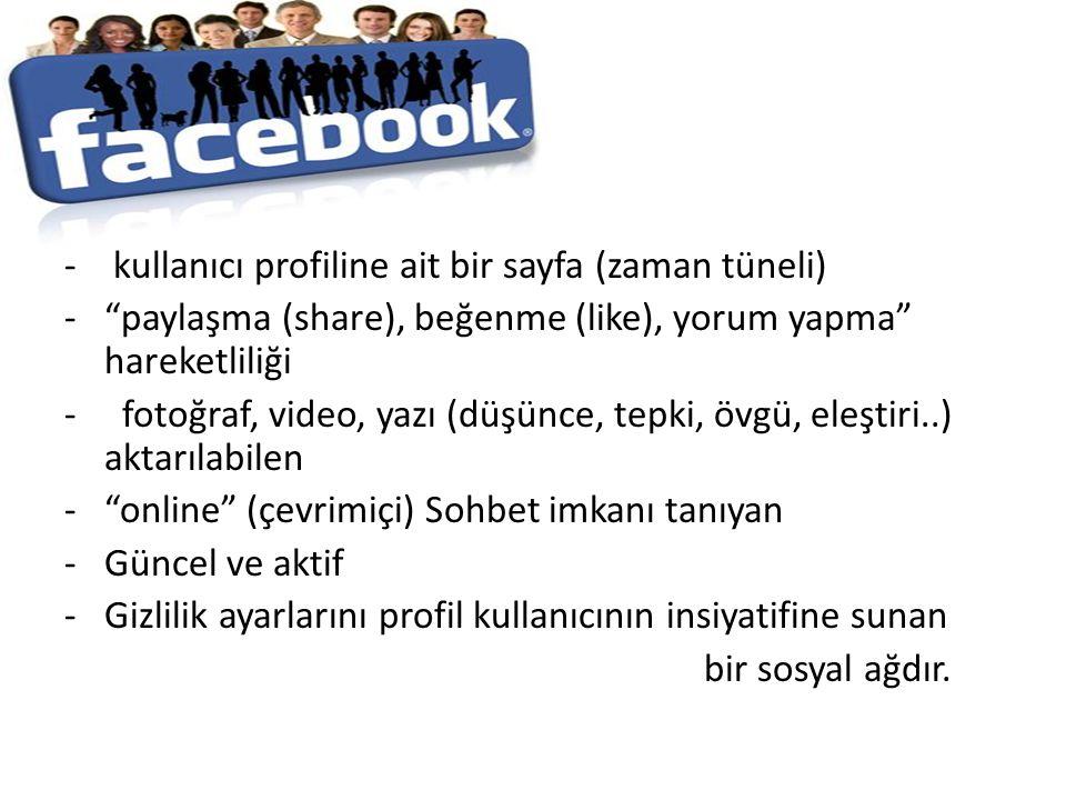 """- kullanıcı profiline ait bir sayfa (zaman tüneli) -""""paylaşma (share), beğenme (like), yorum yapma"""" hareketliliği - fotoğraf, video, yazı (düşünce, te"""