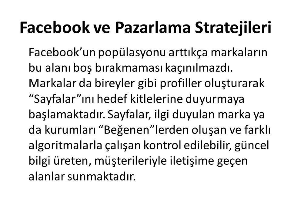 Facebook ve Pazarlama Stratejileri Facebook'un popülasyonu arttıkça markaların bu alanı boş bırakmaması kaçınılmazdı. Markalar da bireyler gibi profil