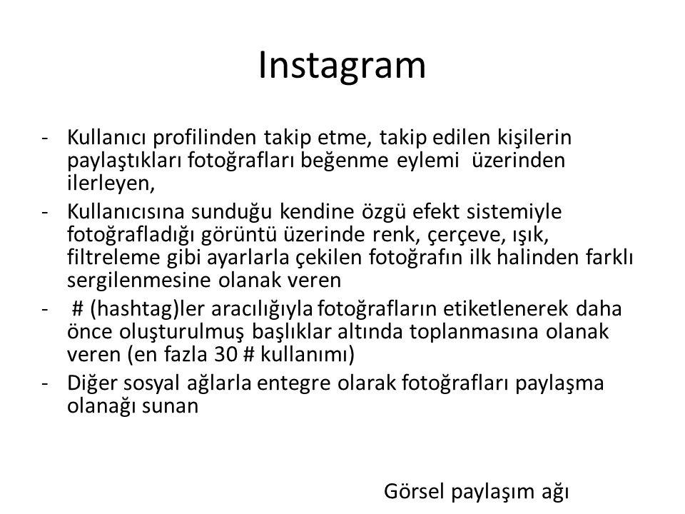 Instagram -Kullanıcı profilinden takip etme, takip edilen kişilerin paylaştıkları fotoğrafları beğenme eylemi üzerinden ilerleyen, -Kullanıcısına sund