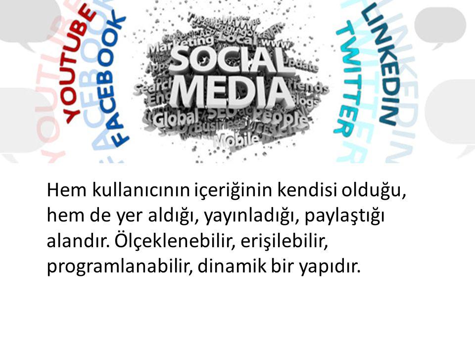 Nedir Bu Sosyal Medya ? Hem kullanıcının içeriğinin kendisi olduğu, hem de yer aldığı, yayınladığı, paylaştığı alandır. Ölçeklenebilir, erişilebilir,
