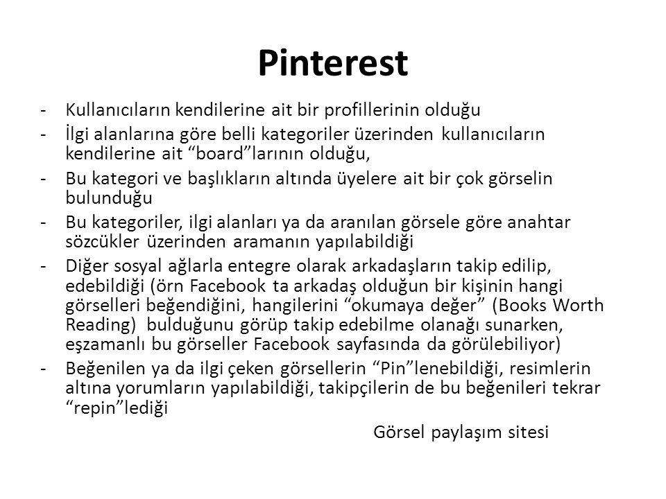 """Pinterest -Kullanıcıların kendilerine ait bir profillerinin olduğu -İlgi alanlarına göre belli kategoriler üzerinden kullanıcıların kendilerine ait """"b"""