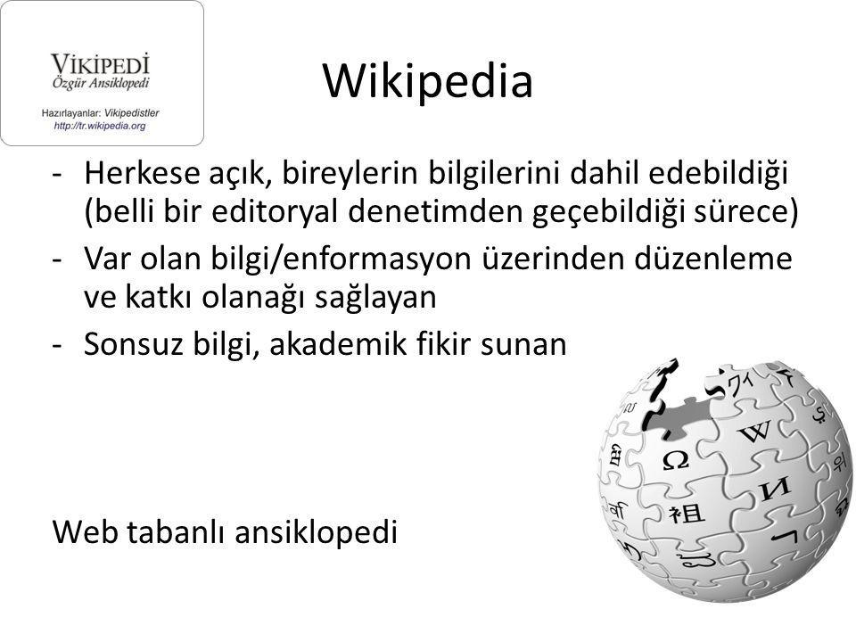 Wikipedia -Herkese açık, bireylerin bilgilerini dahil edebildiği (belli bir editoryal denetimden geçebildiği sürece) -Var olan bilgi/enformasyon üzerinden düzenleme ve katkı olanağı sağlayan -Sonsuz bilgi, akademik fikir sunan Web tabanlı ansiklopedi