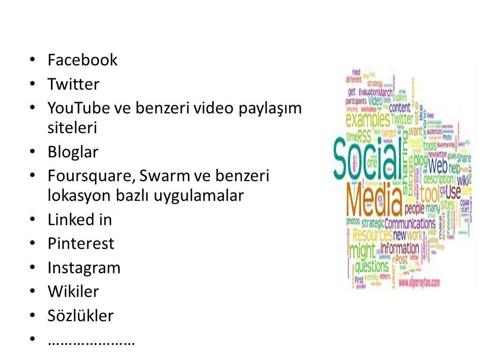 Facebook Twitter YouTube ve benzeri video paylaşım siteleri Bloglar Foursquare, Swarm ve benzeri lokasyon bazlı uygulamalar Linked in Pinterest Instagram Wikiler Sözlükler …………………