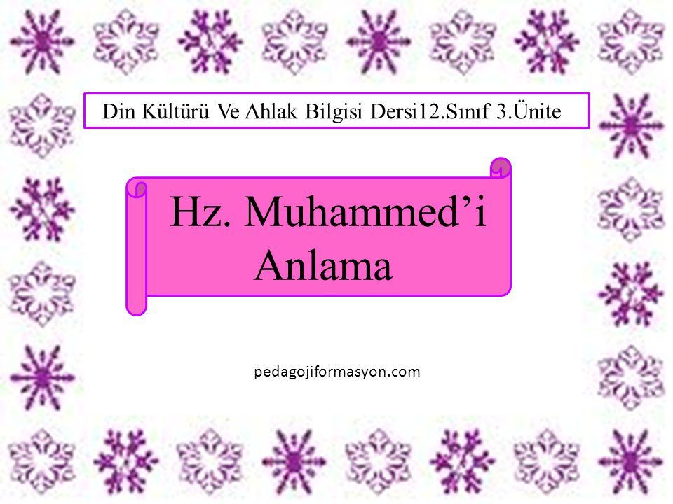 2)Aşağıdakilerden hangisi ile Hz.Muhammed'i en doğru şekilde anlamış oluruz.