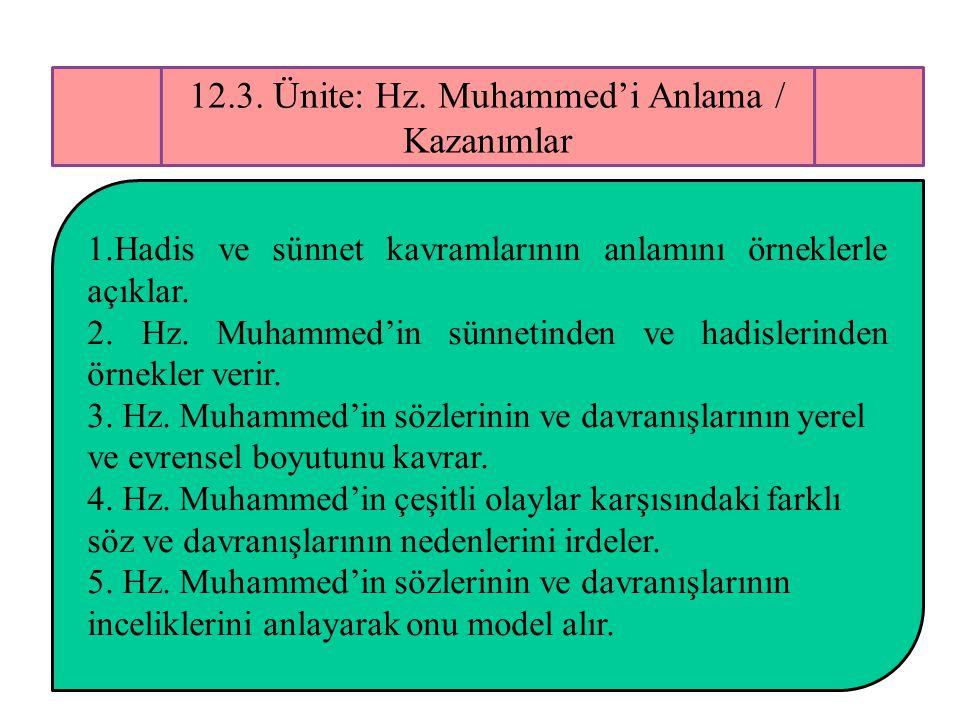 12.3. Ünite: Hz. Muhammed'i Anlama / Kazanımlar 1.Hadis ve sünnet kavramlarının anlamını örneklerle açıklar. 2. Hz. Muhammed'in sünnetinden ve hadisle