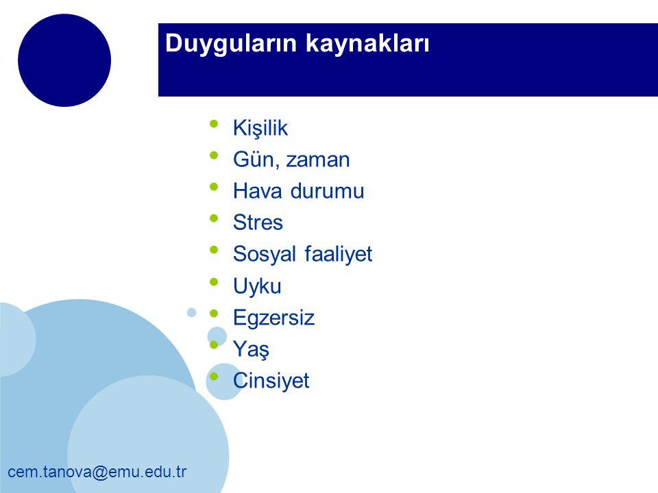 cem.tanova@emu.edu.tr Duyguların kaynakları Kişilik Gün, zaman Hava durumu Stres Sosyal faaliyet Uyku Egzersiz Yaş Cinsiyet