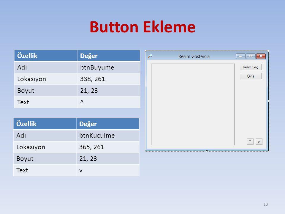 Button Ekleme ÖzellikDeğer AdıbtnBuyume Lokasiyon338, 261 Boyut21, 23 Text^ 13 ÖzellikDeğer AdıbtnKuculme Lokasiyon365, 261 Boyut21, 23 Textv