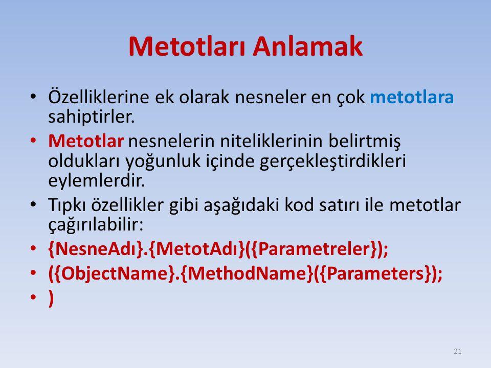 Metotları Anlamak Özelliklerine ek olarak nesneler en çok metotlara sahiptirler. Metotlar nesnelerin niteliklerinin belirtmiş oldukları yoğunluk içind