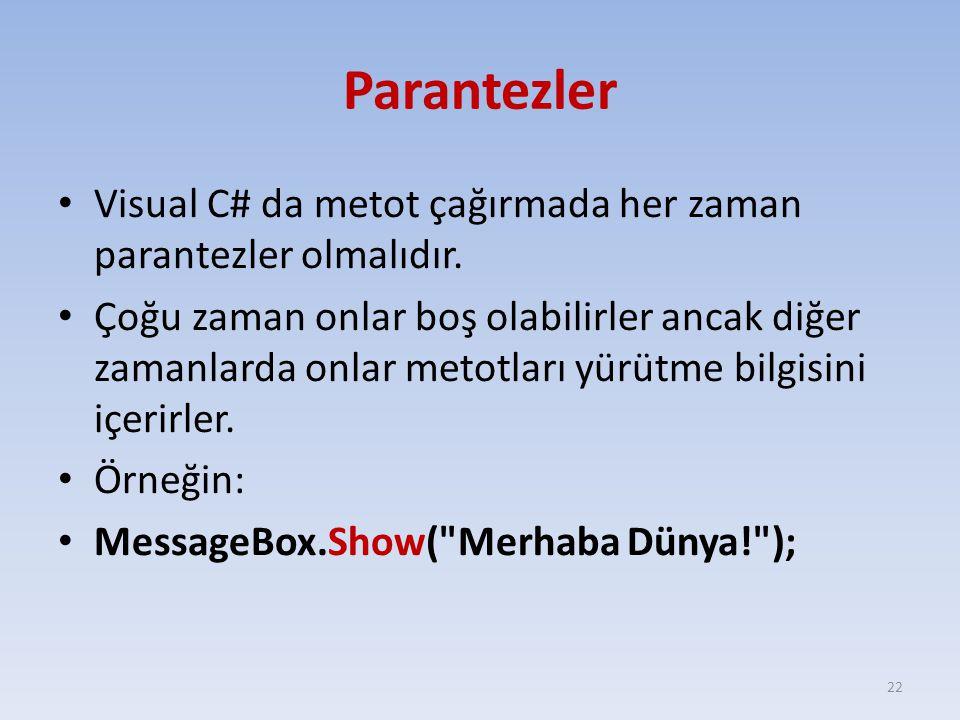 Parantezler Visual C# da metot çağırmada her zaman parantezler olmalıdır. Çoğu zaman onlar boş olabilirler ancak diğer zamanlarda onlar metotları yürü