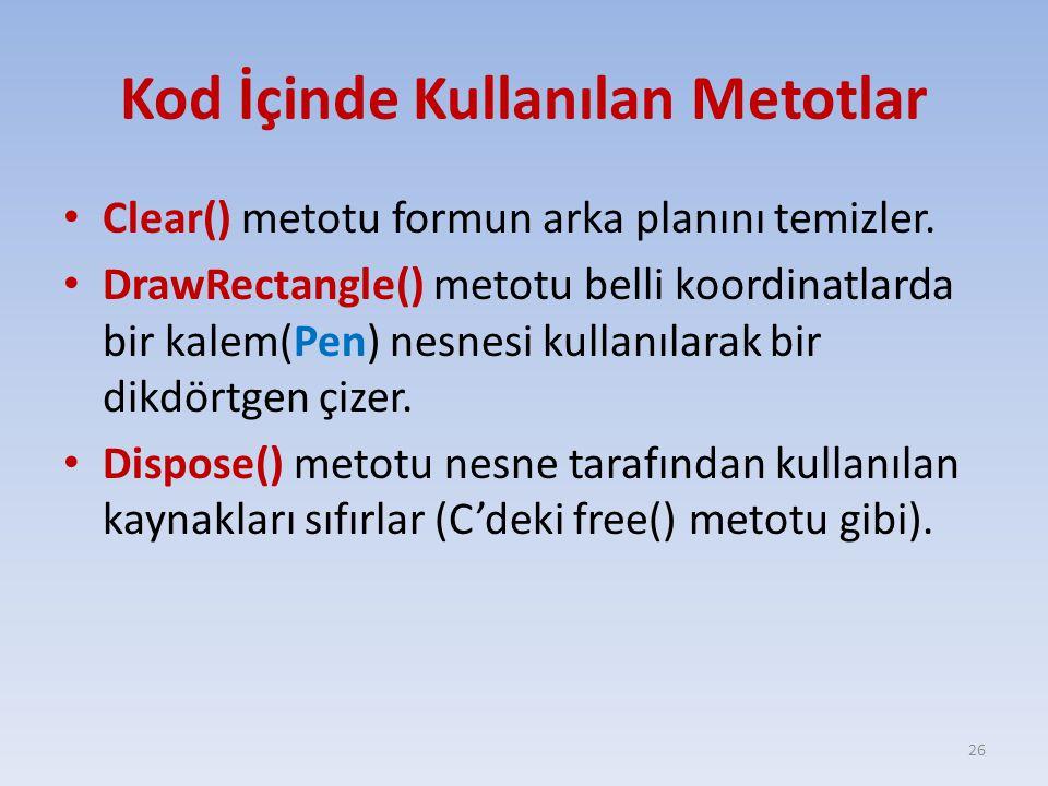Kod İçinde Kullanılan Metotlar Clear() metotu formun arka planını temizler. DrawRectangle() metotu belli koordinatlarda bir kalem(Pen) nesnesi kullanı