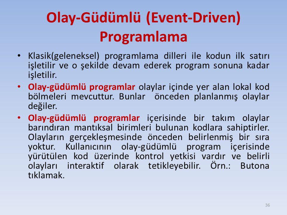Olay-Güdümlü (Event-Driven) Programlama Klasik(geleneksel) programlama dilleri ile kodun ilk satırı işletilir ve o şekilde devam ederek program sonuna