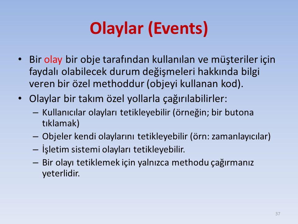 Olaylar (Events) Bir olay bir obje tarafından kullanılan ve müşteriler için faydalı olabilecek durum değişmeleri hakkında bilgi veren bir özel methodd