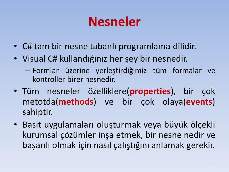 C# tam bir nesne tabanlı programlama dilidir. Visual C# kullandığınız her şey bir nesnedir. – Formlar üzerine yerleştirdiğimiz tüm formalar ve kontrol