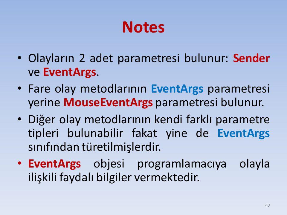 Notes Olayların 2 adet parametresi bulunur: Sender ve EventArgs. Fare olay metodlarının EventArgs parametresi yerine MouseEventArgs parametresi bulunu