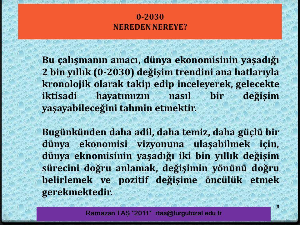 0-2030 NEREDEN NEREYE? Ramazan TAŞ *2011* rtas@turgutozal.edu.tr 3 Bu çalışmanın amacı, dünya ekonomisinin yaşadığı 2 bin yıllık (0-2030) değişim tren
