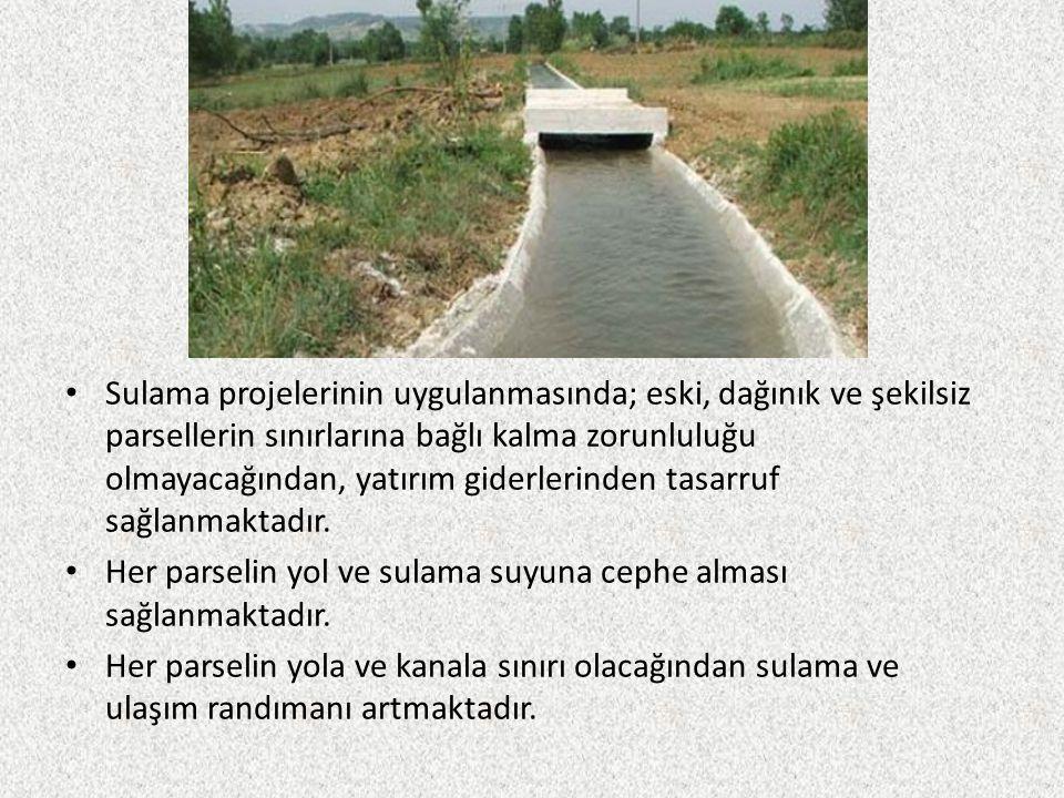 Ülkemizde ekonomik olarak sulanabileceği söylenen 8,5 milyon hektarlık tarım arazisinin bugün için fiilen sulanan miktarı 4,7 milyon hektardır (% 55,3).