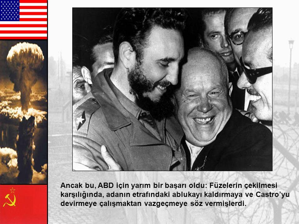 Bunun üzerine bir güç gösterisi başladı. On beş gün boyunca, dünya nükleer savaş tehlikesinin sınırında yaşadı. Sonunda Kruşçev, füzeleri 28 Ekim 1962