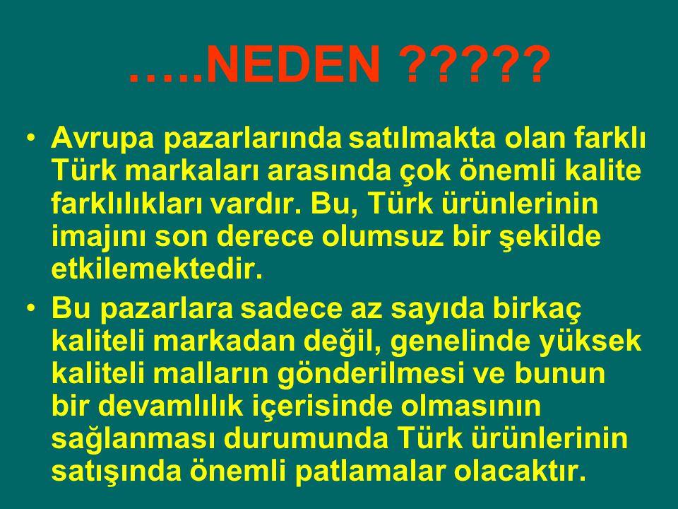 …..NEDEN ????? Avrupa pazarlarında satılmakta olan farklı Türk markaları arasında çok önemli kalite farklılıkları vardır. Bu, Türk ürünlerinin imajını