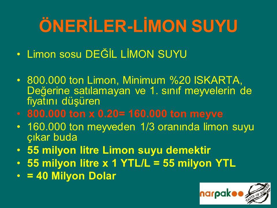 ÖNERİLER-LİMON SUYU Limon sosu DEĞİL LİMON SUYU 800.000 ton Limon, Minimum %20 ISKARTA, Değerine satılamayan ve 1. sınıf meyvelerin de fiyatını düşüre