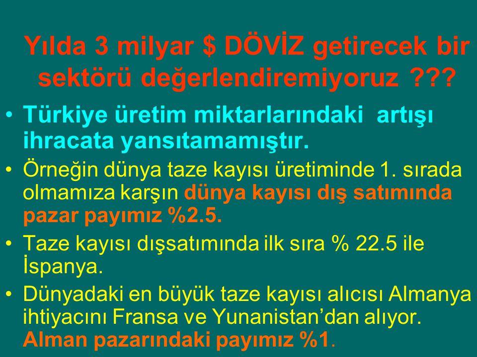Yılda 3 milyar $ DÖVİZ getirecek bir sektörü değerlendiremiyoruz ??? Türkiye üretim miktarlarındaki artışı ihracata yansıtamamıştır. Örneğin dünya taz