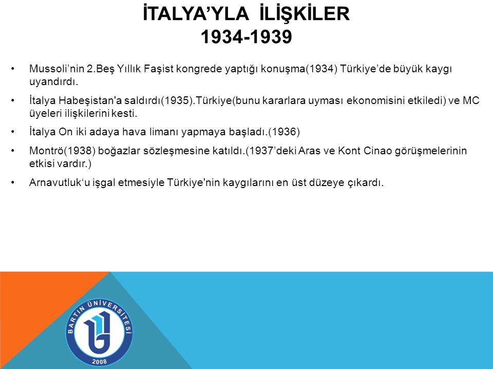 İTALYA'YLA İLİŞKİLER 1934-1939 Mussoli'nin 2.Beş Yıllık Faşist kongrede yaptığı konuşma(1934) Türkiye'de büyük kaygı uyandırdı.