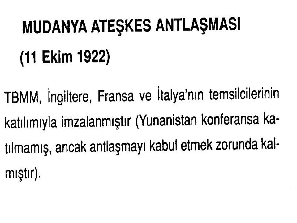 Yunanistan temsilcisi Mazarakis, görüşmelere katılmayarak, Mudanya açıklarında gemide beklemiş, düşüncelerini zaman zaman yazılı olarak bildirmiştir Görüşmelerde Yunanistan ı İngiltere temsil etmiştir.