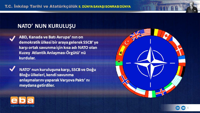 T.C. İnkılap Tarihi ve Atatürkçülük II. DÜNYA SAVAŞI SONRASI DÜNYA 6 NATO' NUN KURULUŞU ABD, Kanada ve Batı Avrupa' nın on demokratik ülkesi bir araya